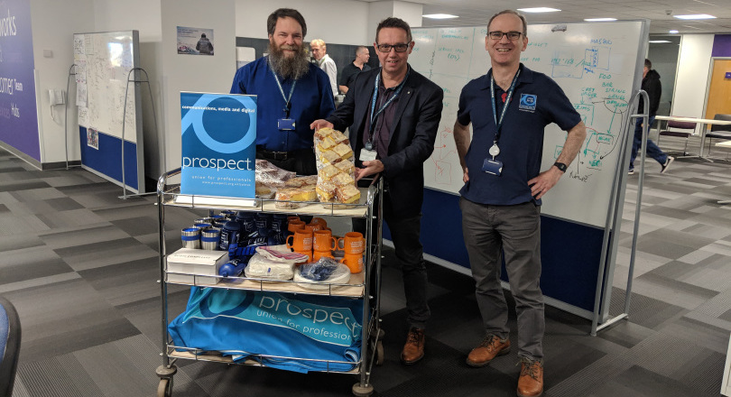 Union Week 2018 Noel McClean (centre) with Martin Aylett and Alan Smith giving out cake at Adastral Park