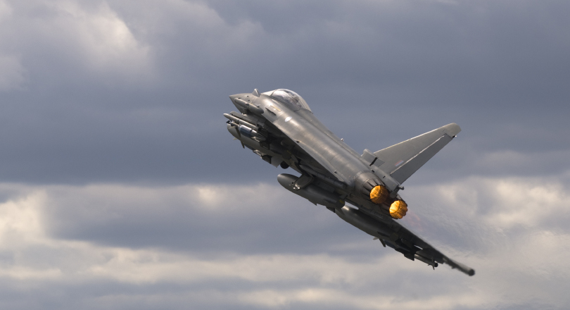 RAF Typhoon aircraft view form below and behaind in climb