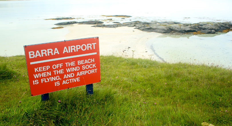 Sign at Scotland's Barra airport
