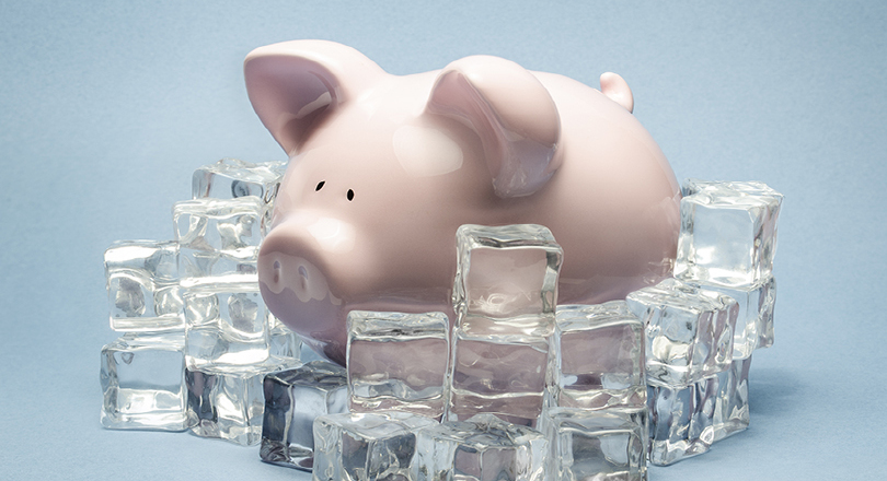 Pay freeze piggy bank
