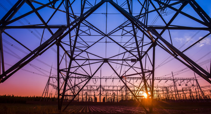 Pylons dramatically lit at night